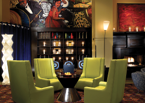 The hotel's dramatic lobby
